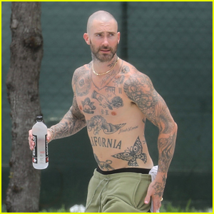 Adam Levine Goes Shirtless While Arriving For 4th of July Workout