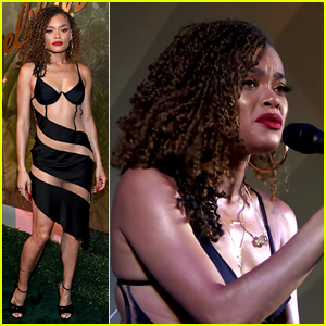 Andra Day Wears Sexy Cut-Out Dress for Private Show in Vegas