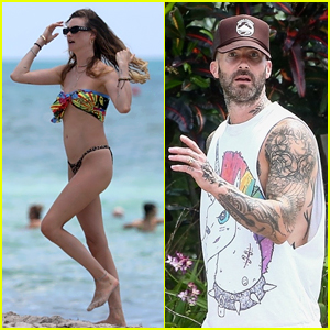 Behati Prinsloo Hits the Beach in a Bikini While Adam Levine Gets in a Workout