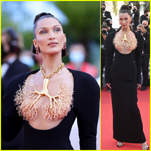 Bella Hadid Stuns With Incredible Gold-Dipped Lungs Look at Cannes Film Festival 2021