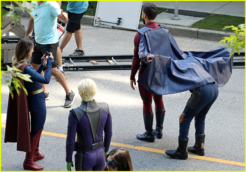 Melissa Benoist, Chris Wood and Jeremy Jordan on the set of Supergirl