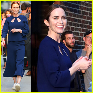 Emily Blunt Spotted at 'Colbert' Studio in NYC, Talks About Secret to Her Marriage