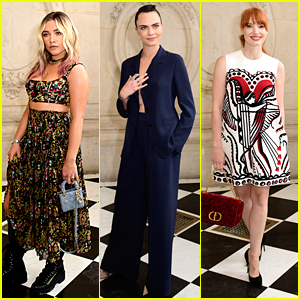 Florence Pugh, Cara Delevingne & Jessica Chastain Step Out in Style For Dior's Paris Fashion Show