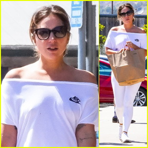Lady Gaga Goes Casual in an All-White Look While Grocery Shopping in Malibu