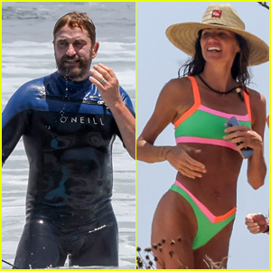Gerard Butler Goes Surfing During Beach Day with Morgan Brown - New Photos!