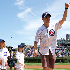 Jason Sudeikis Throws First Pitch at Cubs Game with His Two Adorable Kids!