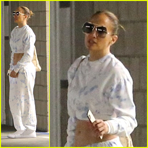 Jennifer Lopez Shows Off Midriff In Cute White Outfit While Stopping By Lionsgate Offices