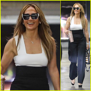 Jennifer Lopez Is All Smiles on the Way to a Business Meeting in West Hollywood