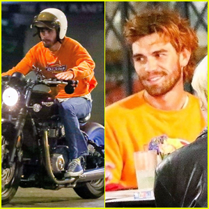 KJ Apa Rides His Motorcycle to Dinner with Friends