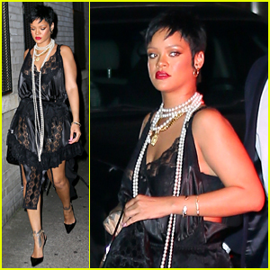 Rihanna Wears Sexy Lace Dress for Dinner in New York City