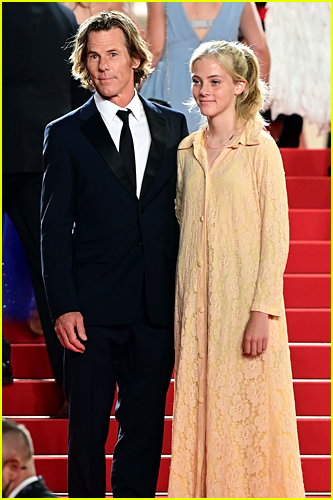 Danny Moder and daughter Hazel Moder on red carpet in Cannes