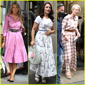 Sarah Jessica Parker Runs Into A Cafe To Film 'And Just Like That' With Kristin Davis & Cynthia Nixon