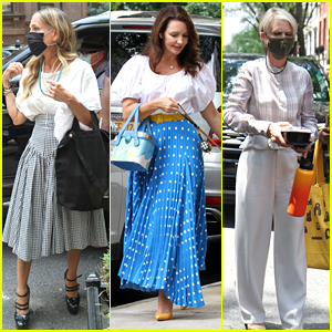 Sarah Jessica Parker, Cynthia Nixon & Kristin Davis Mask Up Behind The Scenes on 'And Just Like That' Set