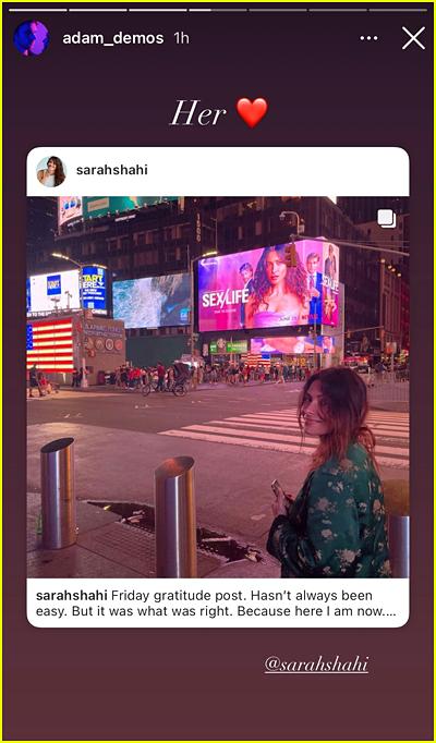 Adam Demos post about Sarah Shahi