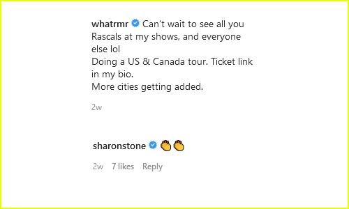 Sharon Stone RMR Instagram exchange