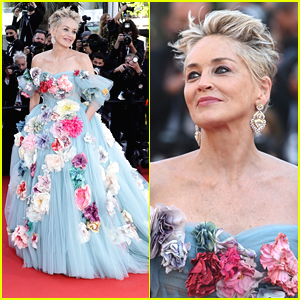 Sharon Stone Channels Cinderella In Puffy Blue Dress at Cannes Film Festival 2021