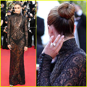 Taylor Hill Flaunts Engagement Ring While Attending Cannes Film Festival in a Sheer Dress