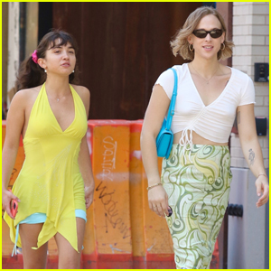 Tommy Dorfman Carries Bright Blue Bag During Day Out with Rowan Blanchard