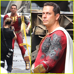 Zachary Levi Films New Action Scenes in a Cinged Suit For 'Shazam! Fury of the Gods!'