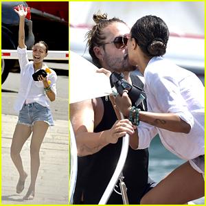 Zoe Saldana Kisses Marco Perego During Boat Ride in Italy