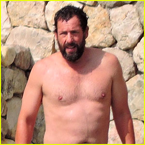 Adam Sandler Goes Shirtless During a Beach Day in Spain