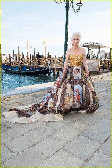 Helen Mirren at the Dolce and Gabbana Alta Moda Show