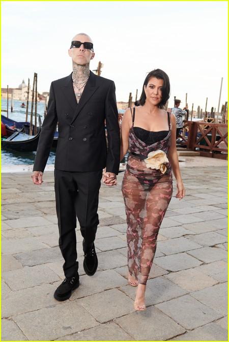Kourtney Kardashian and Travis Barker at the Dolce and Gabbana Alta Moda Show