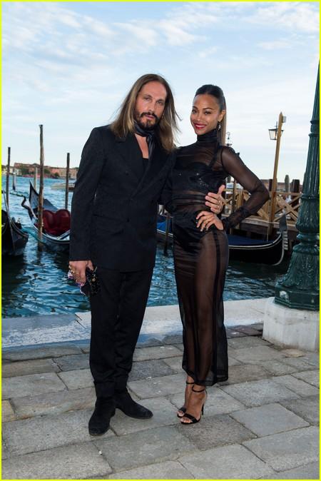 Zoe Saldana and Marco Perego at the Dolce and Gabbana Alta Moda Show