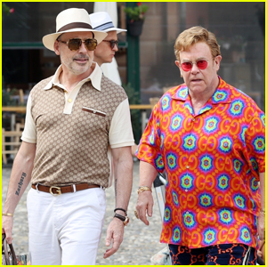 Elton John & Husband David Furnish Sport Gucci Outfits During Day Out in Italy
