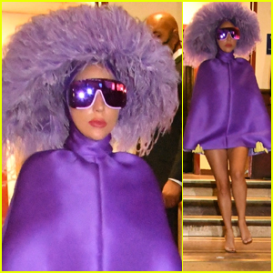 Lady Gaga Steps Out in a Spectacular Purple Look After Radio City Rehearsals