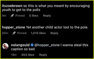 Nolan Gould Instagram comments