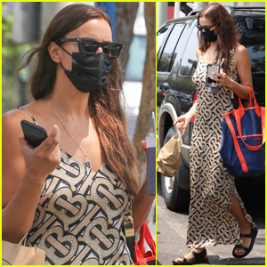 Irina Shayk Goes Pretty in Burberry While on a Smoothie Run in Santa Monica