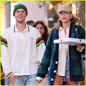 Justin & Hailey Bieber Pick Up Pizza for Dinner in Montecito