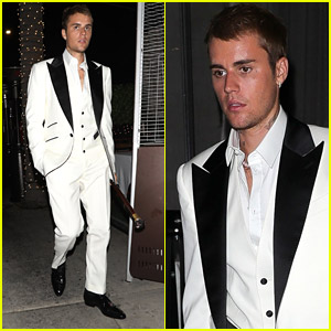 Justin Bieber Steps Out in White Tux For Dinner With Friends