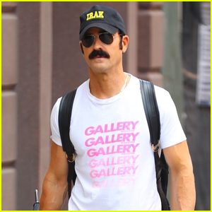 Justin Theroux Sports a Mustache While Out & About in NYC