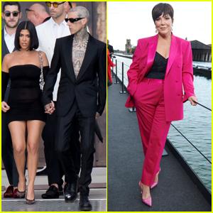 Kourtney Kardashian & Travis Barker Join Kris Jenner at Dolce & Gabbana's Alta Sartoria Show in Venice
