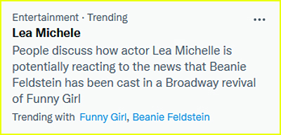 Lea Michele is trending because of Funny Girl