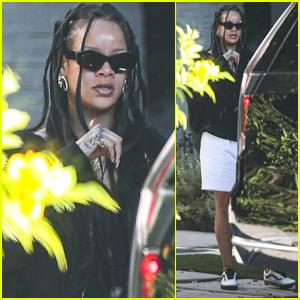 Rihanna Stops by Boyfriend A$AP Rocky's Place in Los Angeles