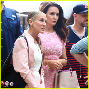 Sarah Jessica Parker & Kristin Davis Coordinate in Pink Outfits For 'And Just Like That' Filming
