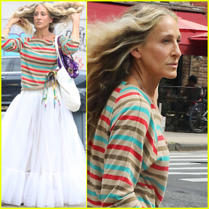 Sarah Jessica Parker Pairs Striped Shirt with White Dress While Filming 'And Just Like That'