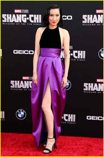 Meng'er Zhang at the premiere of Shang-Chi and the Legend of the Ten Rings