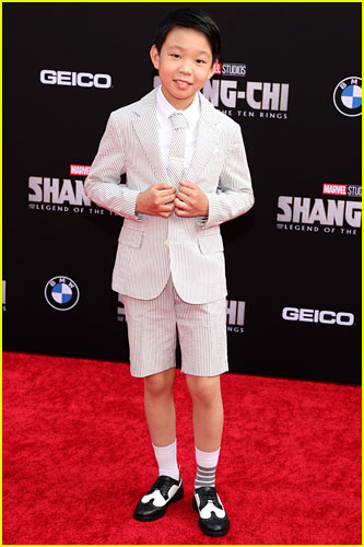 Jayden Tianyi Zhang at the premiere of Shang-Chi and the Legend of the Ten Rings