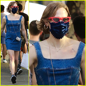 Tommy Dorfman Pairs Her Denim Dress With A Super Tiny Purse While Out in NYC