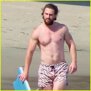 Aaron Taylor Johnson Hits the Beach for Another Day of Swimming