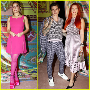Addison Rae Joins Bella Thorne & Becky G On The Front Row For Versace's Fashion Show