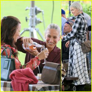 Sarah Jessica Parker, Cynthia Nixon & Kristin Davis Film a Picnic Scene for 'And Just Like That'