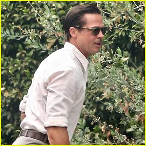 Brad Pitt Slicks Back His Hair for Day of Filming New Movie 'Babylon'
