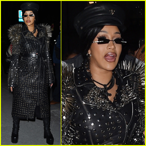 Cardi B Rocks Spiked Leather Trench Coat for Night Out in Paris