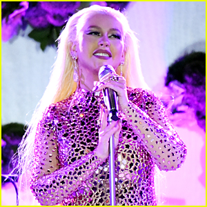 Christina Aguilera Wears Shiny Mirror Dress for Performance at YES Gala
