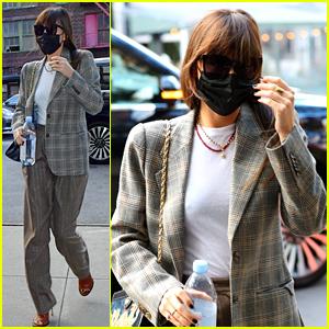 Dakota Johnson Looks Business Chic in a Plaid Blazer While in New York